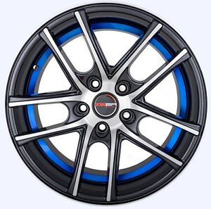 4 Gwg Wheels 17 Inch Black Blue Zero Rims Fits Toyota Camry V6 2012 2018