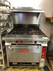 Vulcan Gh45 Natural Gas Commercial 4 Eye Stove Grill Overshelf 50 000 Btu