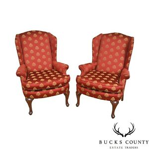 Queen Anne Style Red Gold Pineapple Upholstered Pair Of Wing Chairs