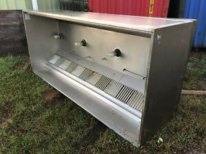 Halton 114 Stainless Steel Kitchen Fryer Hood Vent Heavy Duty Lights Filters