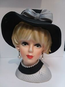 Classic Art Deco Ceramic Lady Head Blondie In The Formal Hat 4 1 2