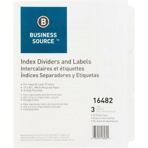 Index Dividers 3hp 3 tab 25 Sets bx 11 x8 1 2 white Bsn16482