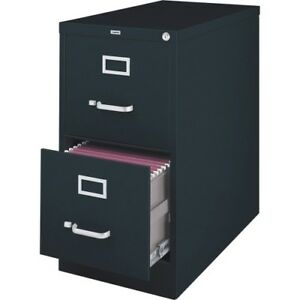 Lorell Vertical 2 Drawer File Cabinet black Llr60661