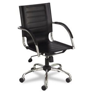 Safco Flaunt Managers Chair Leather Black Seat Steel Frame 5 star Base
