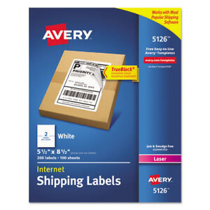 Laser Shipping Labels perforated 5 1 2 x8 1 2 200 bx we Ave5126