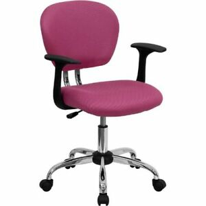 Mid back Pink Mesh Swivel Task Chair With Chrome Base And Arms