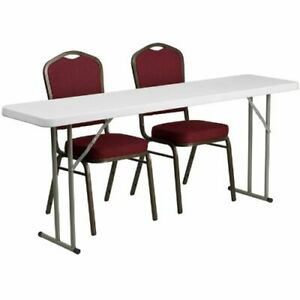 18 X 72 Plastic Folding Training Table With 2 Crown Back Stack Chairs