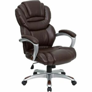 High Back Brown Leather Executive Swivel Office Chair With Leather Padded Loop