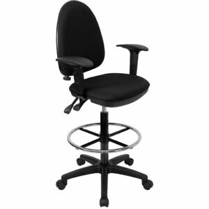 Mid back Black Fabric Multi functional Drafting Chair With Adjustable Lumbar