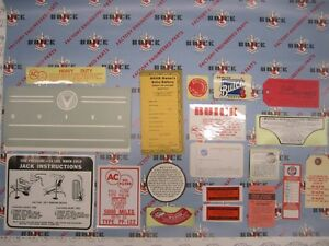 1958 Buick 4 Bbl Engine Interior Decal Tag Kit Set Of 19