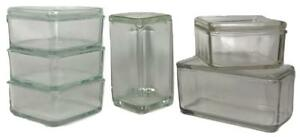 Set Of 6 Wilhelm Wagenfeld 1930s Bauhaus Kubus Glass Stacking Storage Containers