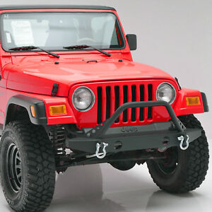Front Bumper With D Ring Mounts Shackles For Jeep 87 06 Wrangler Yj Tj Lj