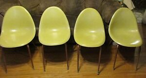 4 Canary Yellow Herman Miller Eames Era Shell Chairs W Bases Mcm Vintage Retro