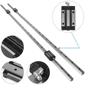 Hgh20 1500mm 2x Linear Rail Set 4x Bearing Block Unique Guideway Shaft Rod