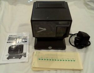 Amano Electronic Time Clock Recorder W Key date Time Stamped Punch Clock