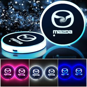 2 Colorful Led Car Cup Holder Pad Mat Auto Interior Atmosphere Light For Mazda
