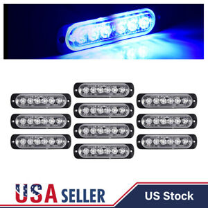 10x Blue 18w 6 Led Auto Car Truck Beacon Flashing Strobe Lights Bar Lamp