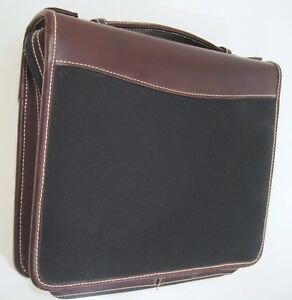 Franklin Covey Planner Binder Organizer Zip Up Black Canvas Brown Leather
