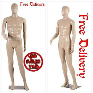 6 Ft Male Mannequin Manikin Metal Stand Plastic Full Body Realistic Dress Form