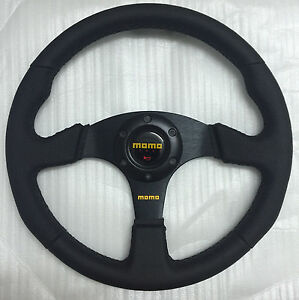 350mm Black Stitching Leather Flat Steering Wheel Racing Omp Drifting Rally