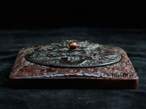 6 China Antique Qing Huanghuali Wood Dragon Inkstone Stationery Statue