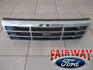 92 Thru 97 F 250 F 350 Oem Genuine Ford Platinum Chrome Grill Grille W Emblem