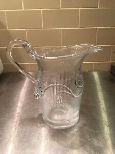 Eapg Glass Water Pitcher Milk Jug American Sandwich Tulip Bellflower Mma Repro