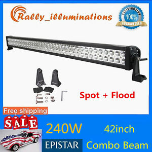 42inch 240w Led Work Light Bar Spot Flood Combo Driving Offroad Tractor Pk 50 52