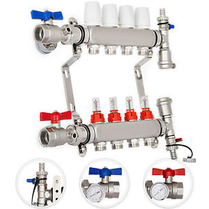 4 branch Pex Radiant Floor Heating Manifold Set Stainless Steel For 1 2 Pex