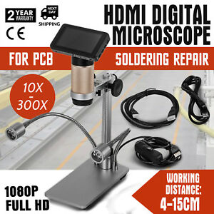 Hdmi Digital Microscope For Pcb Soldering Repair 10x 300x Dual Lights 4cm 15cm