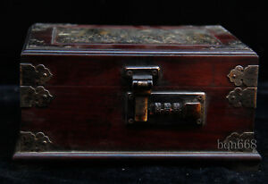 4 Old Antique Huanghuali Wood Tortoise Shell Password Lock Jewelry Box