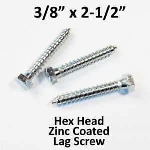 750 3 8 X 2 1 2 Lag Screw White Zinc Hex Head Wood Lag Bolt bulk Box