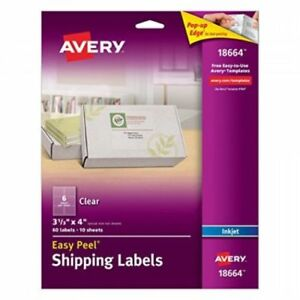 Avery Easy Peel Clear Shipping Labels For Inkjet Printers 3 3 X 4inches Pack