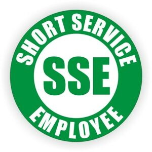 50 pack Short Service Employee Hard Hat Stickers Safety Helmet Decals Temp Sse