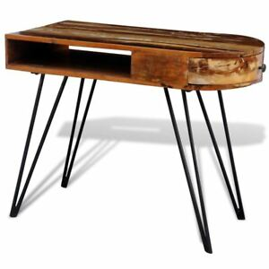 Rustic Writing Computer Desk Reclaimed Solid Wood Office Furniture W 1 Drawer