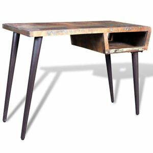 Rustic Home Office Desk Workstation Writing Table Reclaimed Wood W Iron Legs