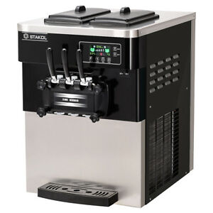 2200w Commercial 3 Flavor Ice Cream Machine Stainless Steel 20 28l h Lcd Display