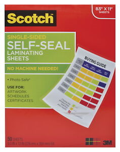 Scotch Single sided Laminating Sheet 9 X 12 Inches Clear Pack Of 50