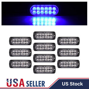 10x Blue 12 Led 36w Strobe Lights Bar Car Truck Beacon Flashing Lamps