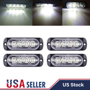 4pcs White 4 Led Emergency Vehicle Marker Grille Flash Strobe Warn Hazard Lights