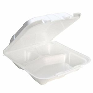Pacytd19903 Foam Hinged Lid Containers White 9 X 9 X 3 1 4 3 compartment