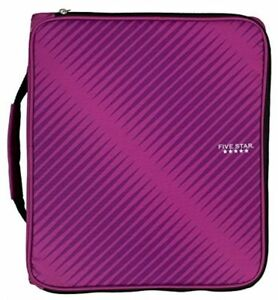 Five Star 2 Durable Zipper Binder Includes 6 Pocket Expanding File Berry