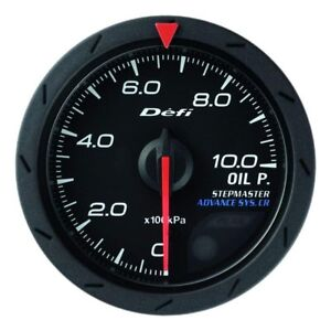Defi Df08102 Advance Cr Oil Pressure Gauge Black 52mm