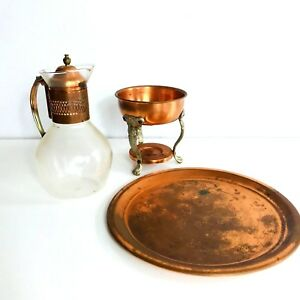 Vintage Glass Coffee Carafe Copper Base Lid Warmer Stand Tea Pitcher Pot Turkish