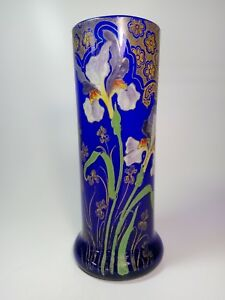 Legras Montjoye France Enameled Glass Vase Art Nouveau Jugendstil 1900