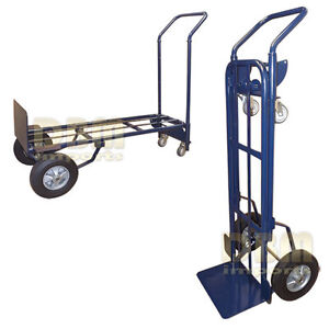 Convertible Hand Truck Vertical Horizontal 4 Wheel Appliance Dolly Cart Lift