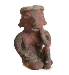 Pre Columbian Nayarit Mexico Pottery Small Seated Female Figure With Bowl