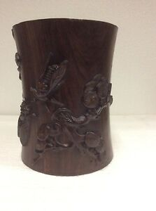 Vintage Chinese Rosewood Hand Carved Brush Pot Pen Holder