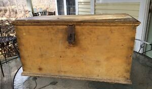 Antique Chrome Yellow Trunk Painted Box Primitive