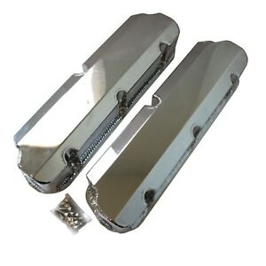 Small Block Ford Sbf Fabricated Chrome Valve Cover 289 302 351w Tall 5 0 No Hole